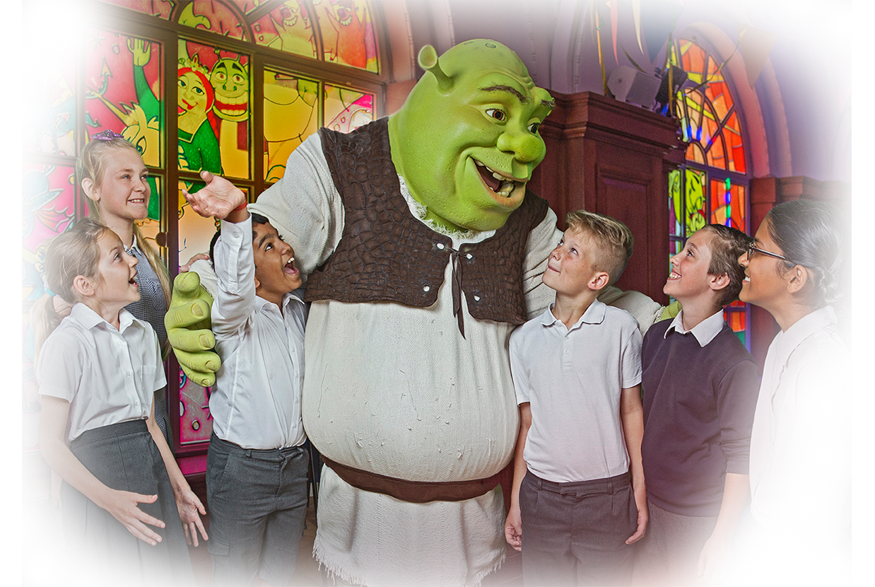Shrek with students